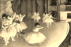 Dress Rehearsal of the Ballet on Stage - Degas