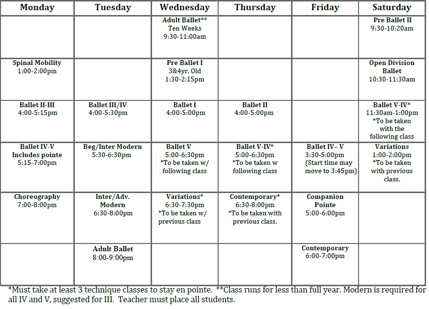 Updated Registration Forms and Class Calendar | Starship Dance Studio